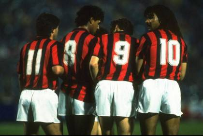 Carlo Ancelloti, Frank Rijkaard, Marco Van Basten and Ruud Gullit of AC Milan