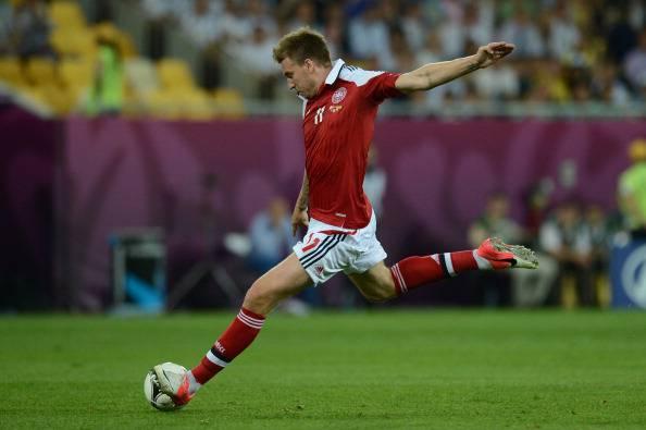Danish forward Nicklas Bendtner strikes