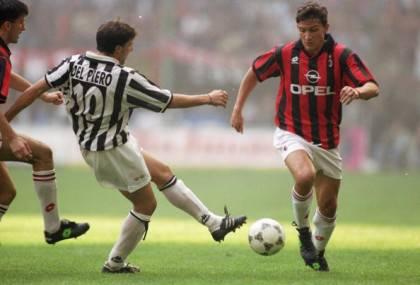Alessandro del Piero of Juventus and Stefano Eranio of AC Milan