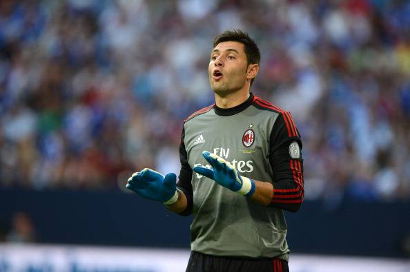 AC Milans goalkeeper Marco Amelia reacts