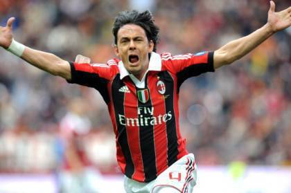 Filippo Inzaghi celebrates scoring durin