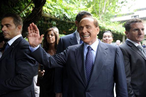 AC Milan's president Silvio Berlusconi w