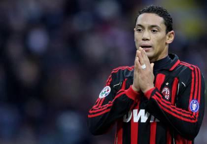 AC Milan's forward Ricardo Oliveira reac