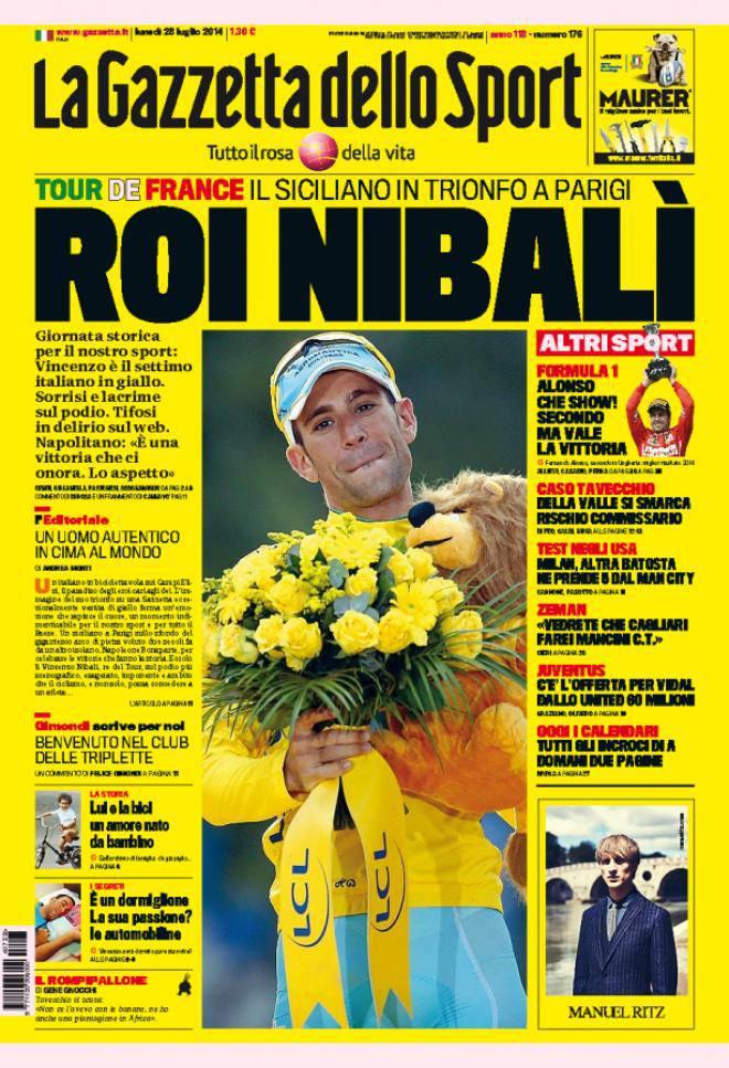 Gazzetta dello Sport, prima pagina e titoli del 28 luglio