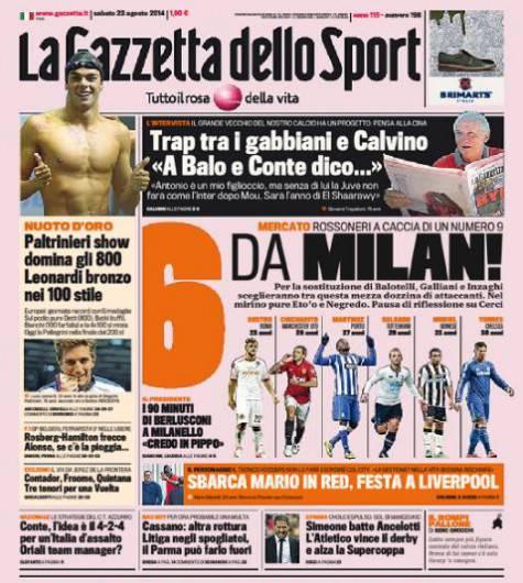 La Gazzetta dello Sport 23-08-2014