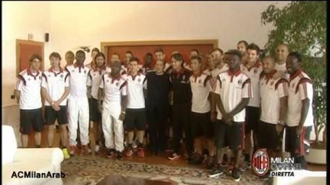 Silvio Berlusconi a Milanello con la squadra