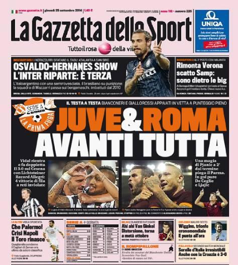 Gazzetta dello Sport 25-09-2014