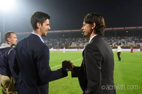 Novak Djokovic & Pippo Inzaghi (Foto acmilan.com)