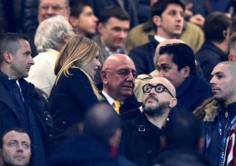 Barbara Berlusconi. Adriano Galliani e Erick Thohir (Getty Images)