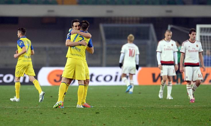 Il Chievo esulta, il Milan è deluso (getty images)