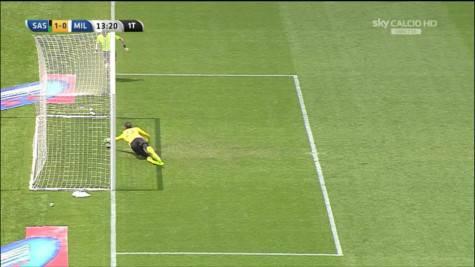 Il gol/non gol di Berardi (Immagini Sky Sport)