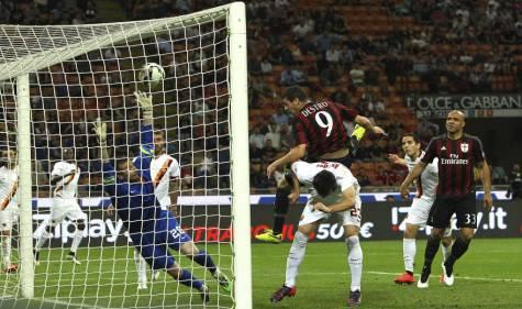 Mattia Destro in gol contro la Roma (Getty Images)