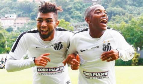 Gabriel Barbosa e Robinho (Fotos: Ricardo Saibun/ Santos FC)