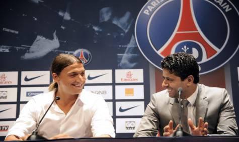 Zlatan Ibrahimovic e Nasser al Khelaifi (Getty Images)