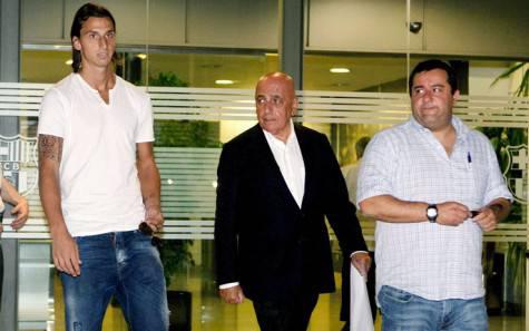 Zlatan Ibrahimovic, Adriano Galliani e Mino Raiola (foto Sky Sport)