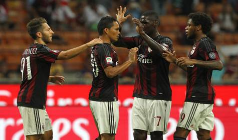L'esultanza dei rossoneri (Getty Images)