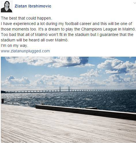 Zlatan Ibrahimovic su Facebook