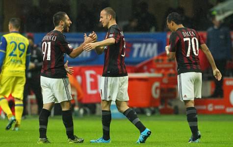 L'esultanza dei rossoneri al gol di Antonelli (©Getty Images)