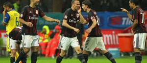 L'esultanza del Milan al gol di Luca Antonelli (Getty Images)