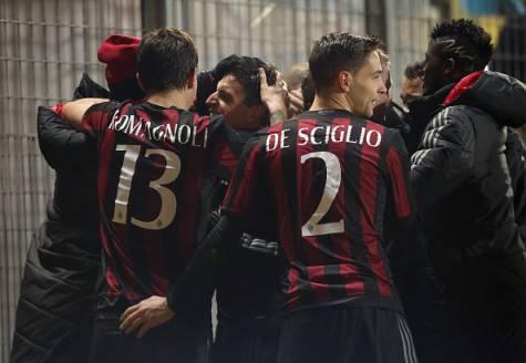 Il Milan esulta a Frosinone (©Getty Images)
