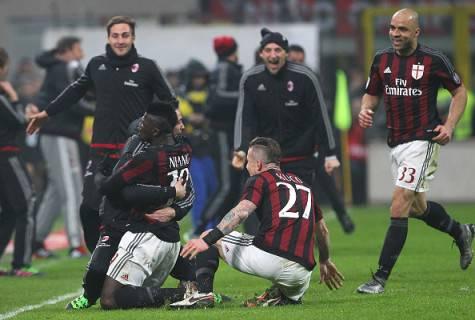 La gioa dei rossoneri dopo il gol di Niang (Getty Images)