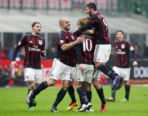 L'esultanza dopo il gol di Honda (©Getty Images)