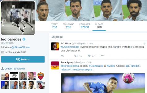Il profilo Twitter di Paredes