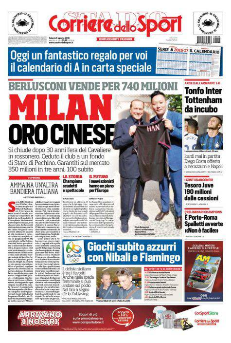 Corriere Dello Sport Calendario.Corriere Dello Sport La Prima Pagina Del 6 Agosto 2016