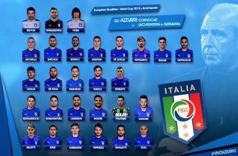 I convocati dell'Italia per Liechtenstein e Germania (foto Twitter Vivo_Azzurro)