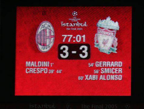Finale Champions League Milan-Liverpool 3-3