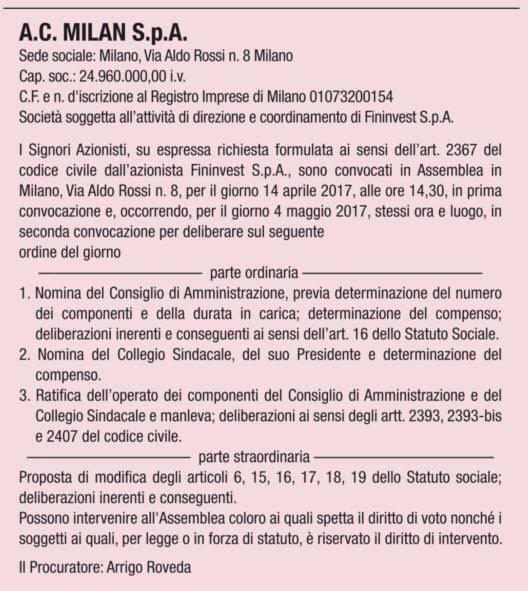 Milan: verso anticipo closing al 13/4