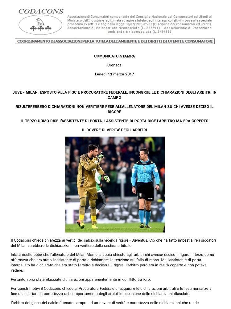 codacons Juventus-Milan