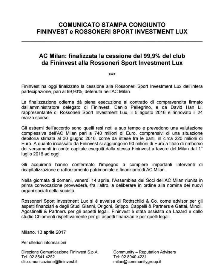 Comunicato ufficiale Closing Milan