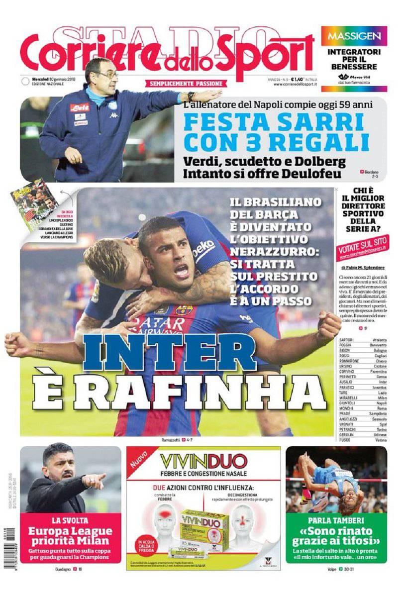 Corriere dello Sport: prima pagina del 10 gennaio 2018
