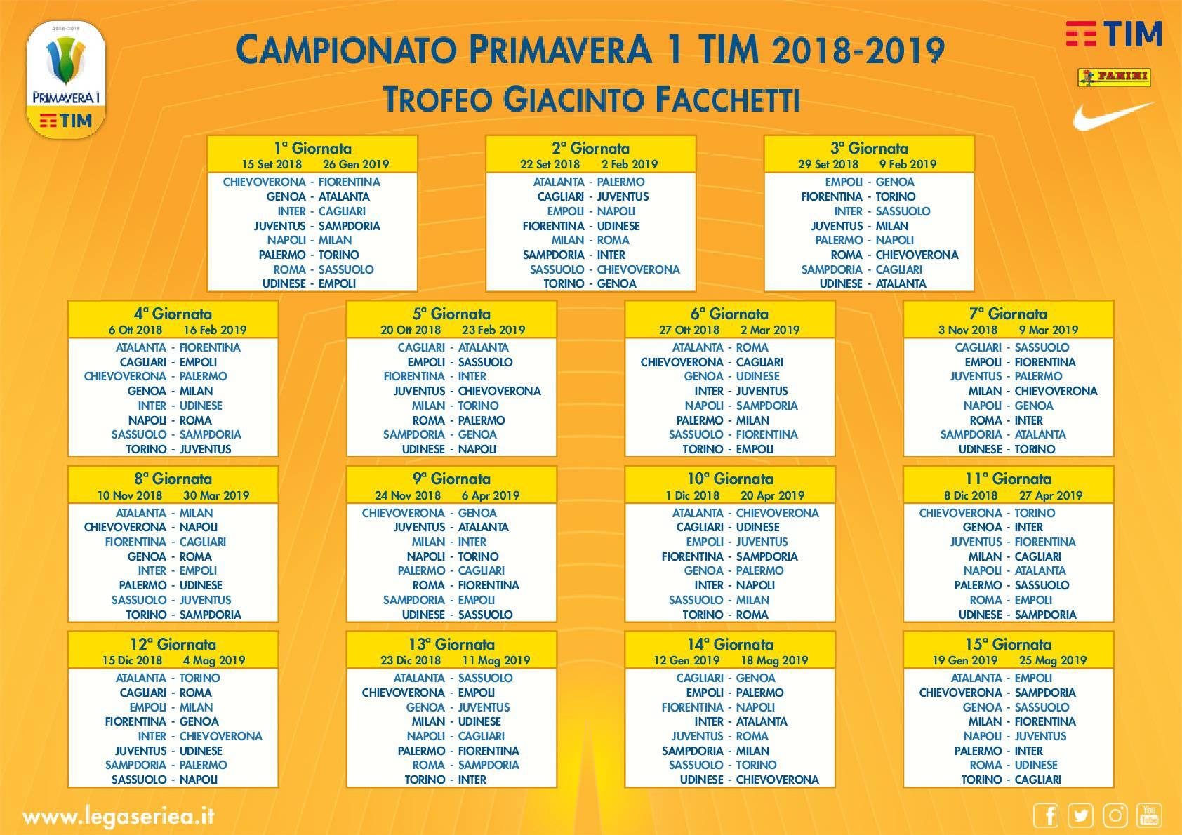 Campionato Serie A Calendario.Campionato Primavera Calendario Ufficiale Napoli Milan Alla 1ª