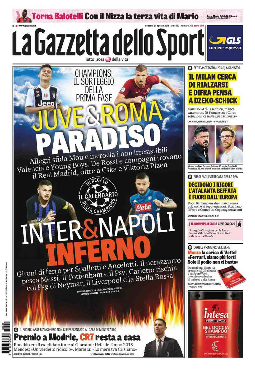 Corriere Dello Sport Calendario.Gazzetta Corriere Dello Sport Tuttosport Prime Pagine Del