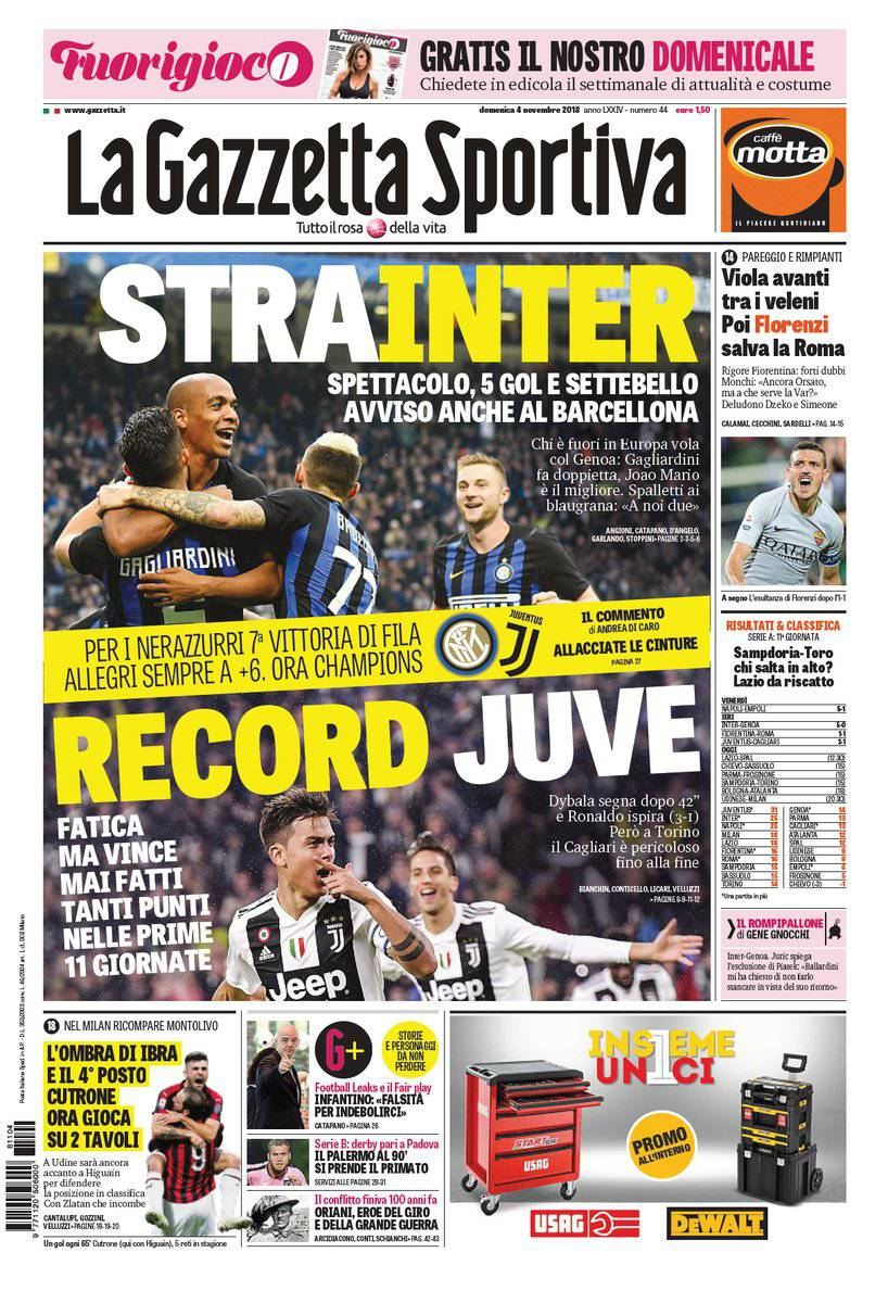 gazzetta dello sport corsport e tuttosport prime pagine del 4 novembre 2018. Black Bedroom Furniture Sets. Home Design Ideas
