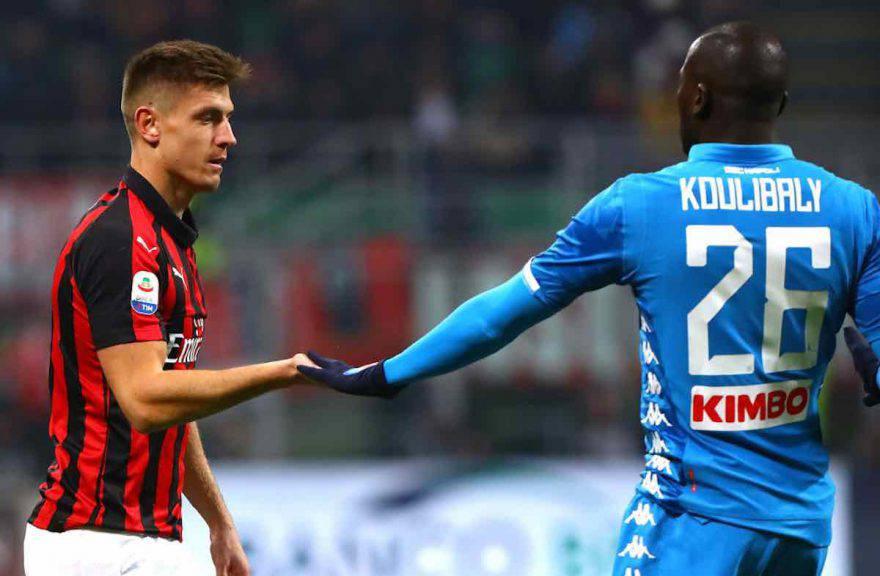 Krzysztof Piatek e Kalidou Koulibaly Milan-Napoli