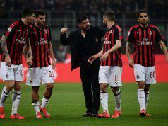 Gattuso e la squadra in Milan-Empoli