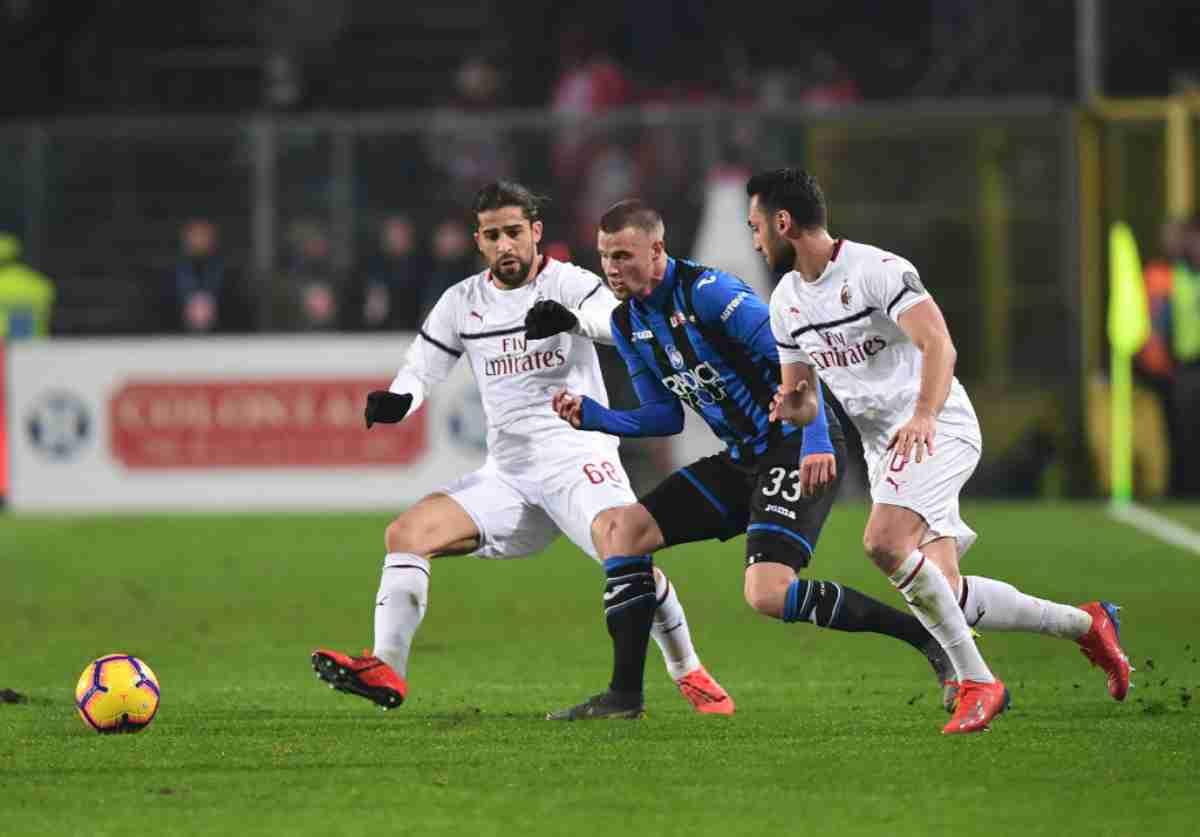 Rodriguez Hateboer Calhanoglu Atalanta-Milan