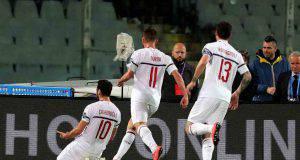 Fiorentina-Milan Hakan Calhanoglu Fabio Borini Alessio Romagnoli