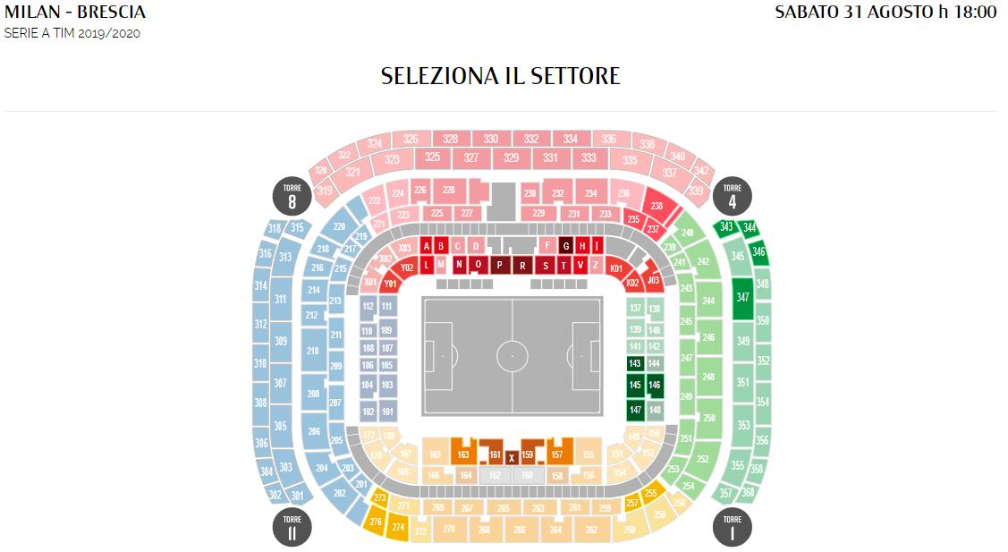 San Siro Milan-Brescia settori disponibili
