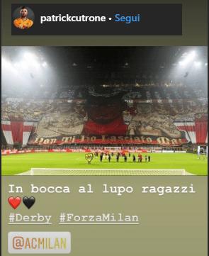 """Cutrone su Instagram: """"Non ti ho lasciato mai. Forza Milan, in bocca al lupo ragazzi"""""""