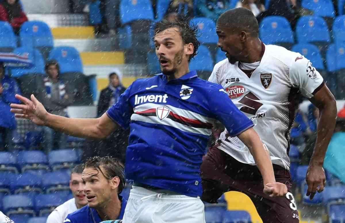 Manolo Gabbiadini vs. Gleison Bremer in Sampdoria-Torino