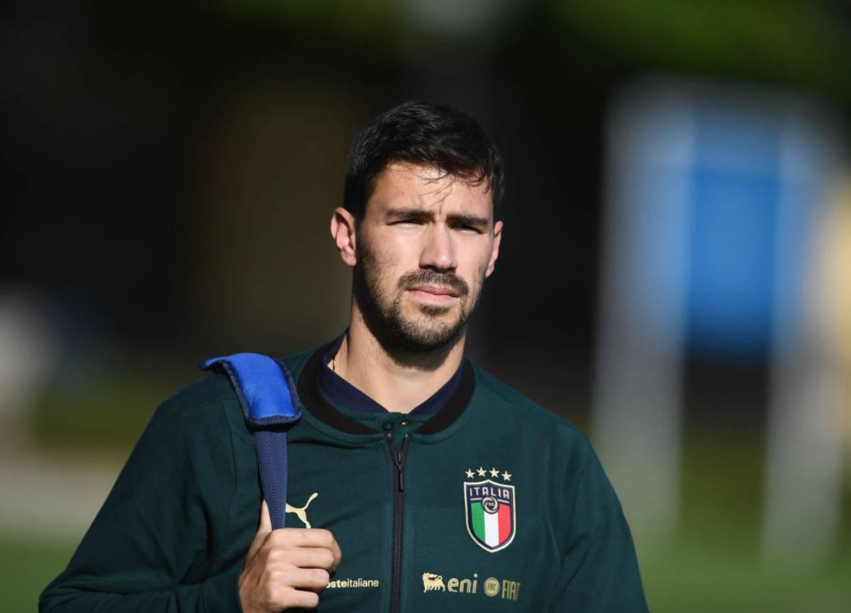 Alessio Romagnoli con l'Italia a Coverciano