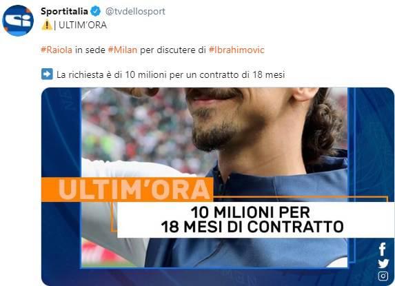 Zlatan Ibrahimovic richiesta stipendio Milan