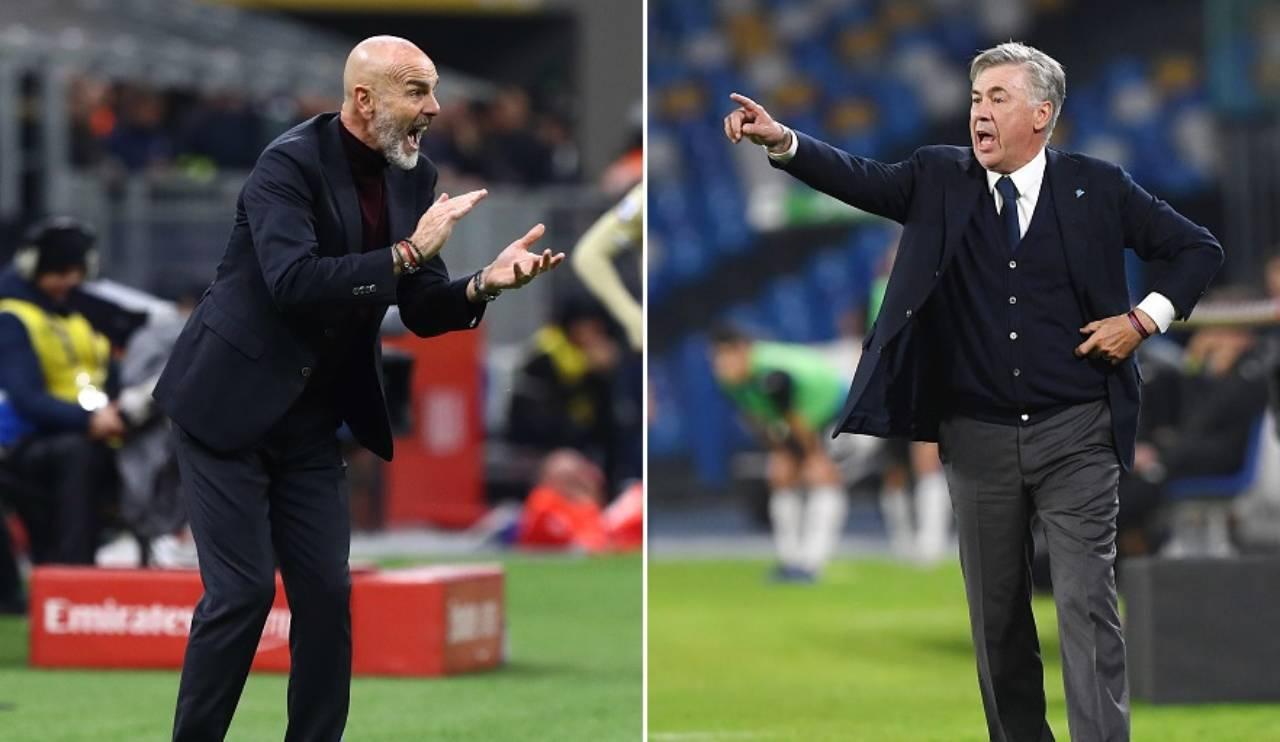 Milan Napoli formazioni ufficiali Stefano Pioli Carlo Ancelotti