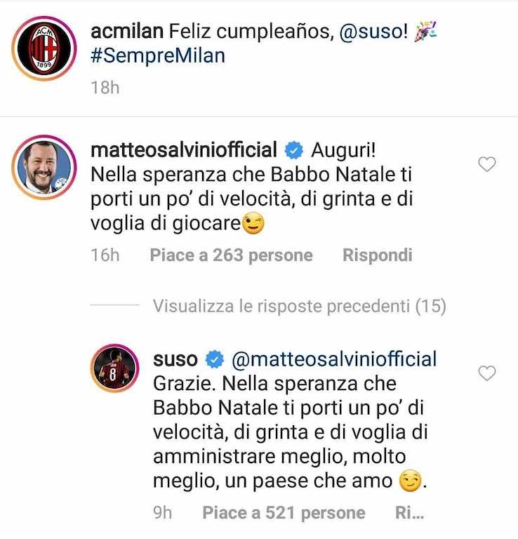 Salvini ha litigato anche con Suso
