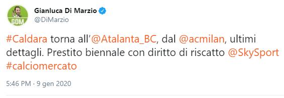 Cessione Caldara Atalanta Di Marzio