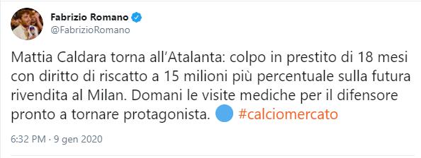 Dettagli riscatto Caldara Atalanta Milan